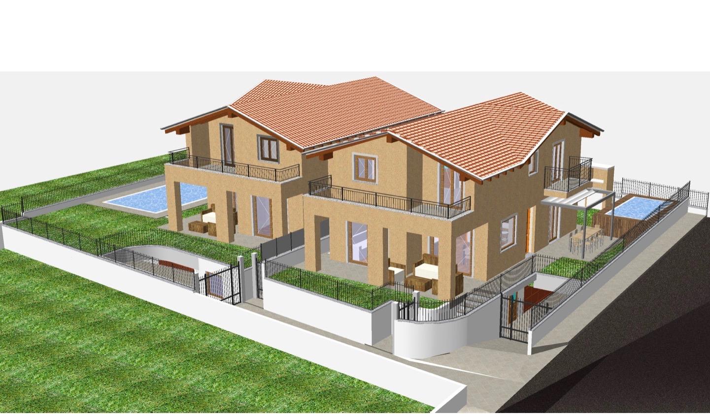 Dongo ville indipendenti con giardino privato e garage for Rendering giardino